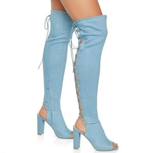 Shoes - Denim Over the Knee Boots Womens 6